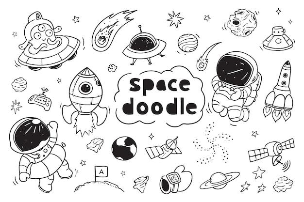 Kosmiczny Doodle Clipart Dla Dzieci Premium Wektorów