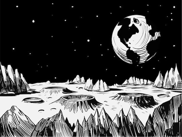 Kosmiczny krajobraz. ilustracja wektorowa w skali szarości. świetne do druku