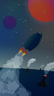 Kosmiczny krajobraz ze statkiem kosmicznym odlatującym z planety z wulkanami na czerwoną planetę. piękny dym z rakiet i wulkanów. gwiaździste niebo. lot w kosmos. ilustracja wektorowa pionowa