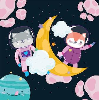 Kosmiczny lis i szop pracz, księżyc i planety eksplorują ilustrację kreskówki zwierząt