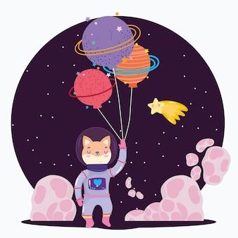 Kosmiczny lis z kosmicznym skafandrem i balonami w kształcie planety kreskówka ilustracja kreskówka