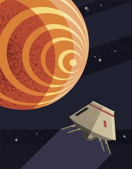 Kosmiczny robot i planeta mars kosmosu wszechświata i futurystyczny motyw