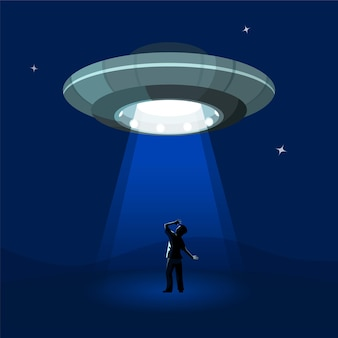 Kosmiczny statek kosmiczny uprowadza mężczyznę pod chmurą nocy