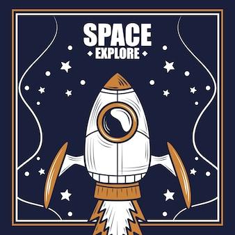 Kosmiczny statek kosmiczny uruchomienie eksploracji gwiaździstej ilustracji