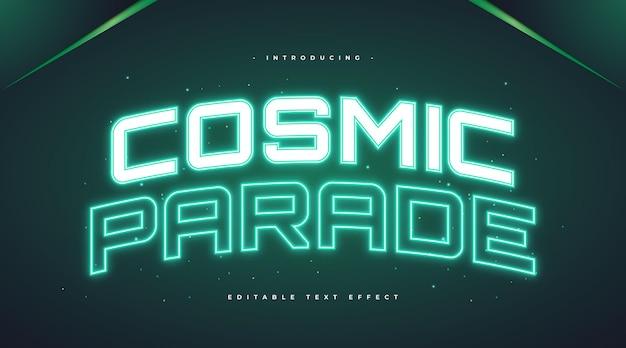 Kosmiczny tekst parady z efektem świecącego zielonego neonu. edytowalny efekt stylu tekstu