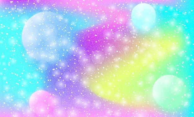 Kosmiczny wzór. syrenka tęcza. świat fantazji. tło bajki. holograficzne magiczne gwiazdy. minimalistyczny design. modne kolory gradientu. płynne kształty. ilustracja wektorowa.