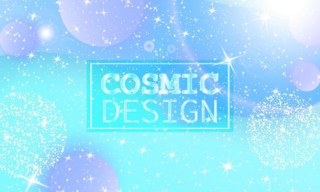 Kosmiczny wzór. wszechświat fantasy. tło bajki. holograficzne magiczne gwiazdy. minimalne. modne kolory gradientu. płynne kształty. ilustracja.