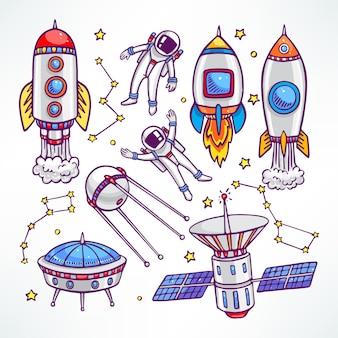 Kosmiczny zestaw z uroczymi rakietami i astronautami. ręcznie rysowane ilustracji