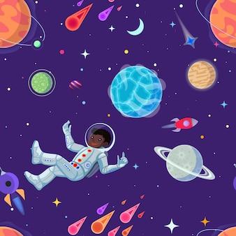 Kosmita przy otwartą przestrzenią bezszwową