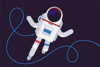 Kosmonauta w astronautycznej ilustraci