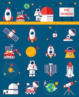 Kosmos kosmosu eksploracji płaski zestaw ikon