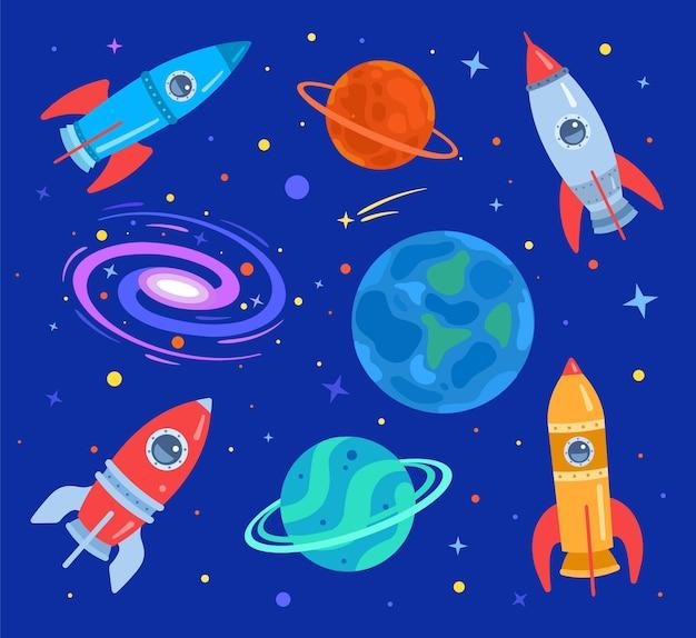 Kosmos z planetami, gwiazdami, galaktykami i latającymi rakietami