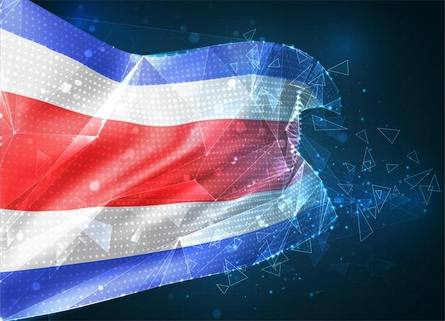 Kostaryka, flaga wektorowa, wirtualny abstrakcyjny obiekt 3d z trójkątnych wielokątów na niebieskim tle