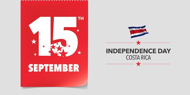 Kostaryka szczęśliwy dzień niepodległości. kostarykański dzień narodowy 15 września tło z elementami flagi w kreatywnym poziomym projekcie