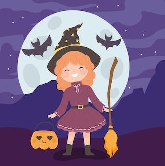 Kostium czarownicy halloween z miotłą i dynią