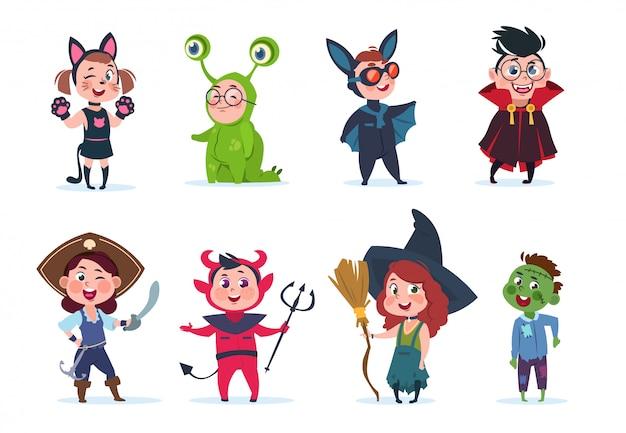 Kostiumy na halloween dla dzieci. kreskówka słodkie dziecko na imprezie z okazji halloween. postaci z kreskówek na festiwalu