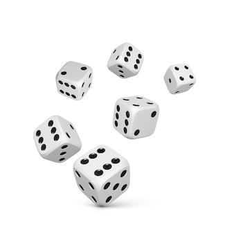 Kostka do gry. renderuj białe realistyczne kości. kasyno i zakłady w tle. ilustracja wektorowa
