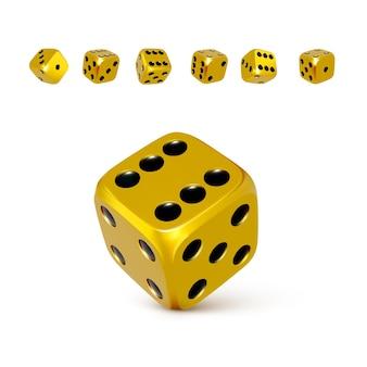 Kostka do gry. zestaw 3d złotych lub żółtych kości w czarne kropki. zagraj w kasynie i wygraj jackpota. ilustracja wektorowa