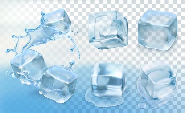 Kostka lodu, wektor zestaw z przezroczystością