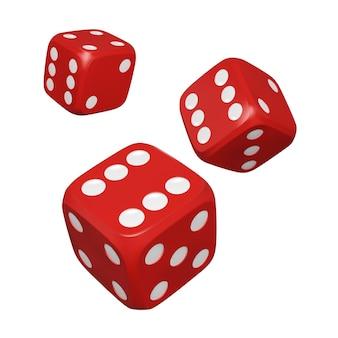 Kostki 3d. realistyczne czerwone kości. kasyno i zakłady w tle. ilustracja wektorowa na białym tle