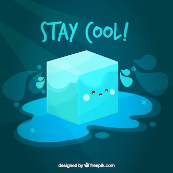 Kostki lodu tło z śliczną kreskówką