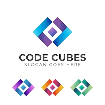 Kostki z projektem gradientu szablonu logo kodu