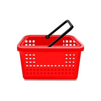 Kosz czerwony supermarket na białym tle