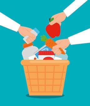 Kosz na cele charytatywne z jedzeniem