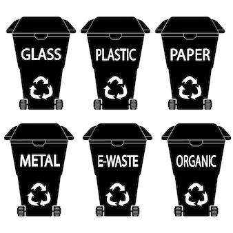 Kosz na śmieci. czarny kosz na śmieci. kosz na śmieci z glifami. zestaw czarnych pojemników na śmieci z posortowanymi śmieciami na białym tle. różne rodzaje śmieci w stylu glifów: organiczne, plastikowe, metalowe, papierowe, szklane, elektroniczne.