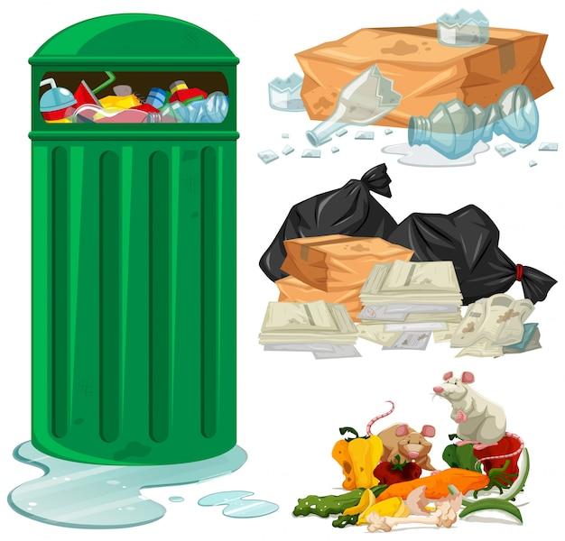 Kosz na śmieci i różne rodzaje śmieci