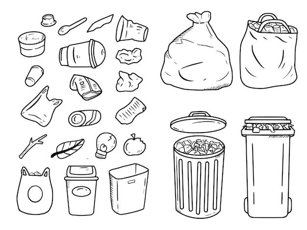 Kosz na śmieci i śmieci doodle rysunek zestaw ilustracji