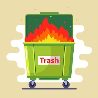 Kosz na śmieci płonie. naruszenie zasad. szkodzić naturze i ludziom. zła ekologia. płaska ilustracja