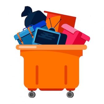 Kosz na śmieci przetwarza elektroniczną jałową śmieciarską ilustrację. pojemnik na śmieci elektroniczny śmieci z gospodarstw domowych recykling śmieci. pojemnik na brudne śmieci miejski