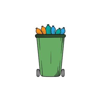 Kosz na śmieci ręcznie rysowane ilustracja clipart ikona