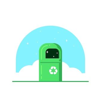Kosz na śmieci w kolorze zielonym ze znakiem recyklingu na białym tle