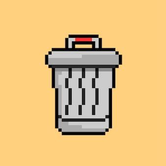 Kosz na śmieci w stylu pixel art