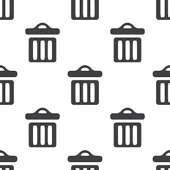 Kosz na śmieci, wektor bezszwowy wzór, edytowalny może być używany do tła stron internetowych, wypełnienia deseniem