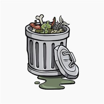 Kosz na śmieci wektor ilustracja kreskówka clipart