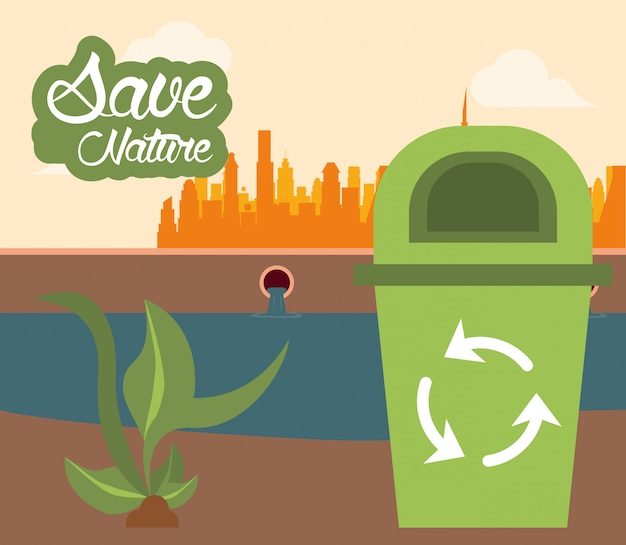 Kosz na śmieci z kartą strzałki recyklingu