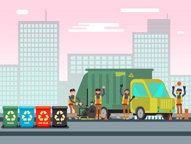 Kosz na śmieci z różnymi rodzajami odpadów