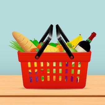 Kosz na zakupy z artykułami spożywczymi