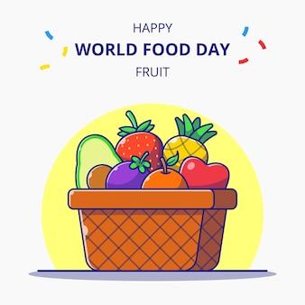 Kosz pełen owoców ilustracja kreskówka obchody światowego dnia żywności.