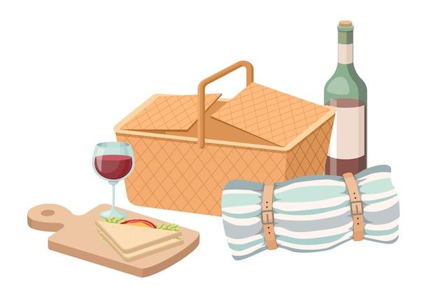 Kosz piknikowy, butelka wina i kieliszek, koc i kanapka. tradycyjne wiklinowe pudełko, kosz z jedzeniem na desce do krojenia, letnie elementy na relaks na białym tle. ilustracja kreskówka wektor