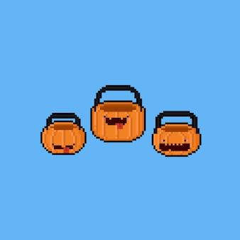 Kosz pikselowy kreskówka dynia. 8 bitowy. halloween.