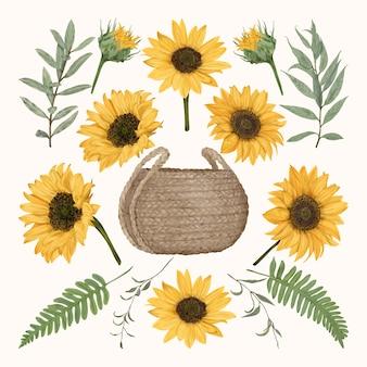 Kosz słomy boho ze słonecznikami i liśćmi