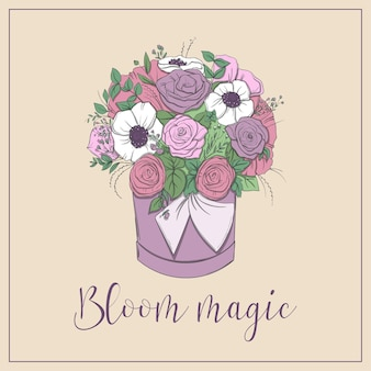 Kosz z bukietem jasnych kwiatów w koszu na białym tle. ilustracja z ramą