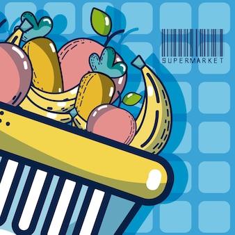Kosz z owocami super rynku produktów