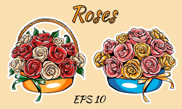 Kosz z różami, na białym tle. dwa rodzaje bukietów.