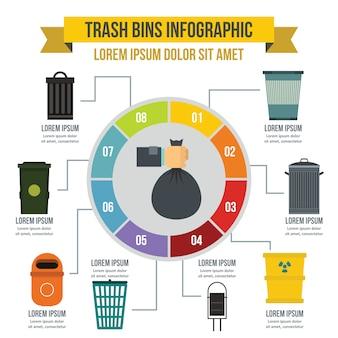 Kosze na śmieci infografika koncepcja, płaski
