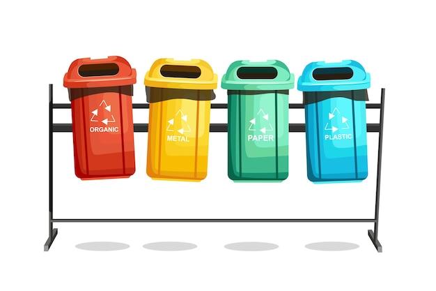 Kosze na śmieci. sortowanie śmieci według różnych typów. ilustracja wektorowa z kreskówki.